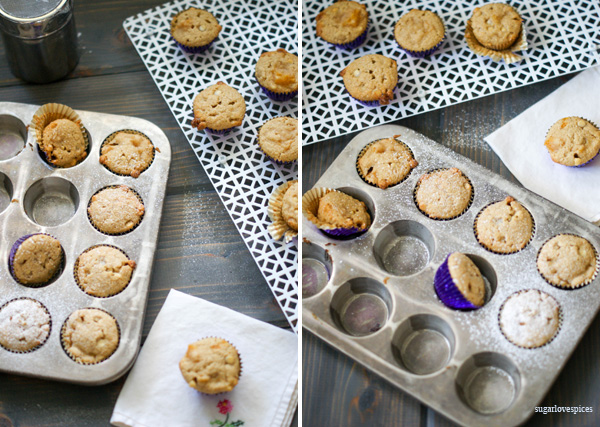 Peach white chocolate mini muffins