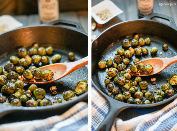 Roasted Brussels Sprouts with Balsamic Cream and Hazelnuts