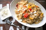 Whole wheat cous cous with roasted vegetables, feta and chickpeas