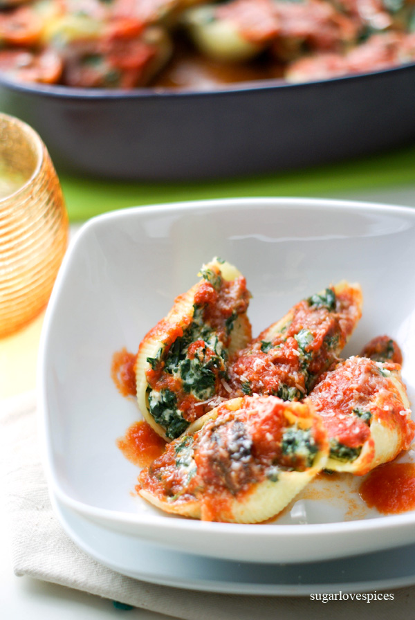 "Oven baked ""Conchiglioni"" with Ricotta and Spinachs"