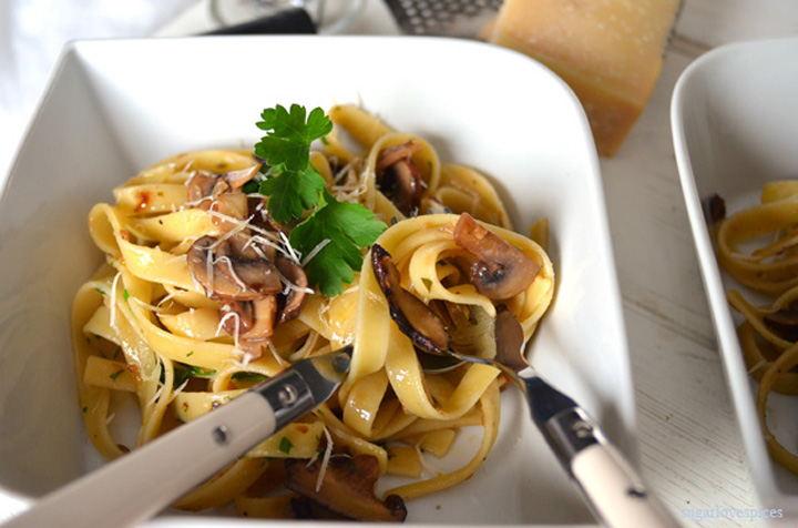 fettuccine in the plate with fork