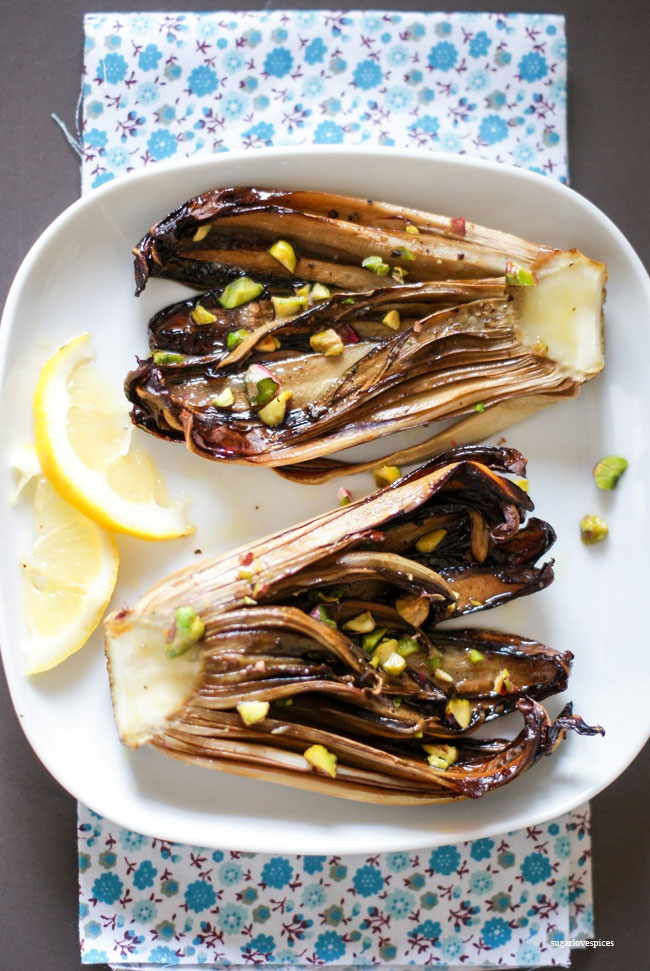Grilled Radicchio with lemon and pistachios