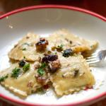 Smoked Ravioli with brown butter sage walnut sauce