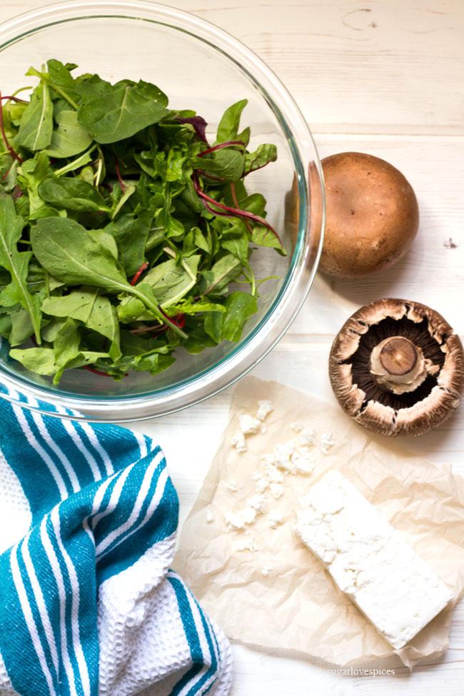 Grilled Portobellini Feta Salad