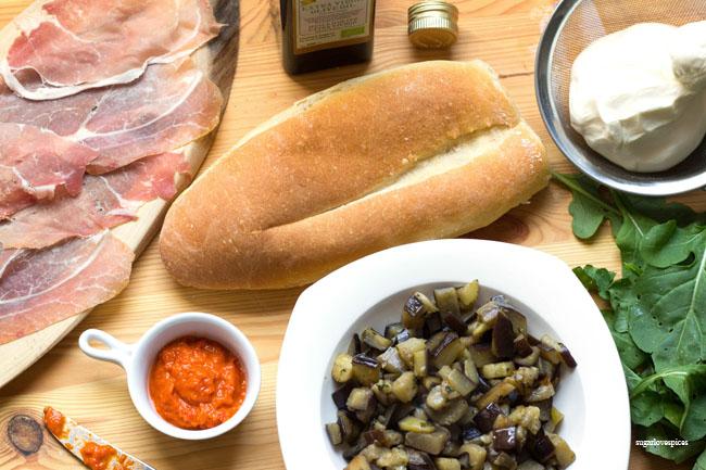 Burrata Prosciutto & Spicy Eggplant Panino