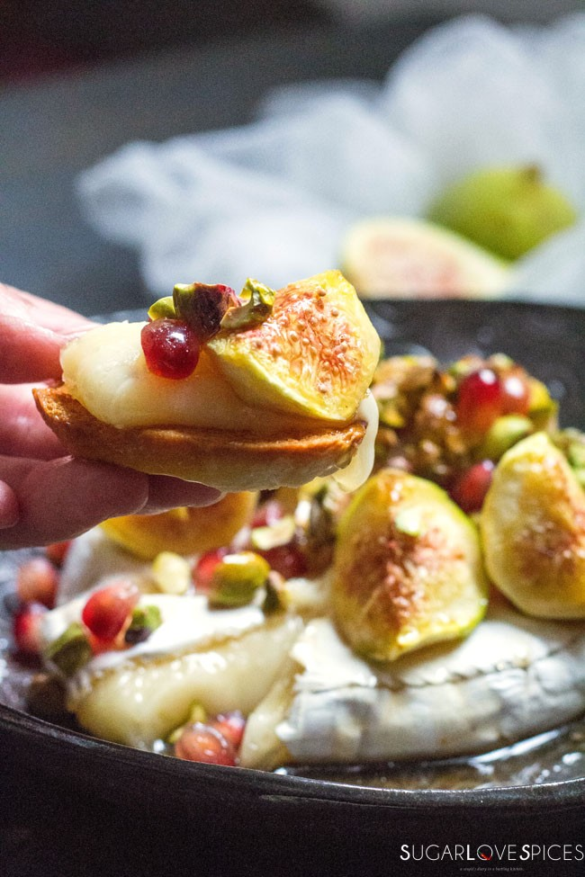 Baked Camembert with Figs, Pistachios and Chamomile Blossom Maple Syrup