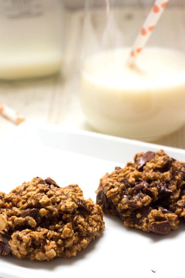 Banana chocolate chip oat cookies