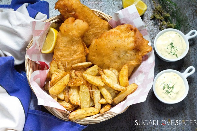 Beer Batter Fish and Chips and Homemade Tartar Sauce