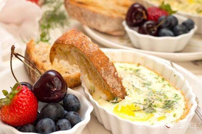 Oven baked herb parmigiano breakfast eggs