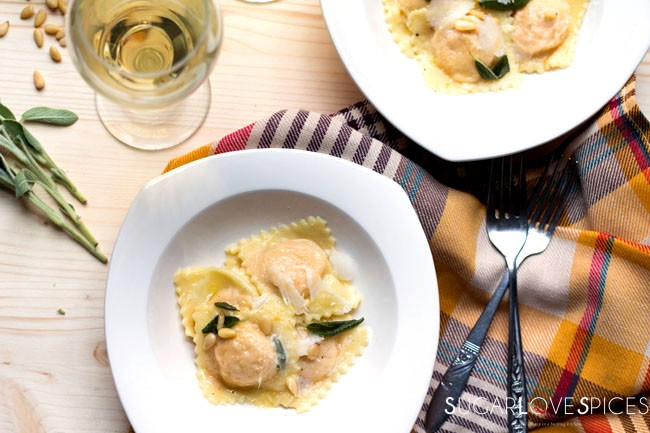 Roasted Pumpkin Ravioli with brown butter, sage, and pine nuts