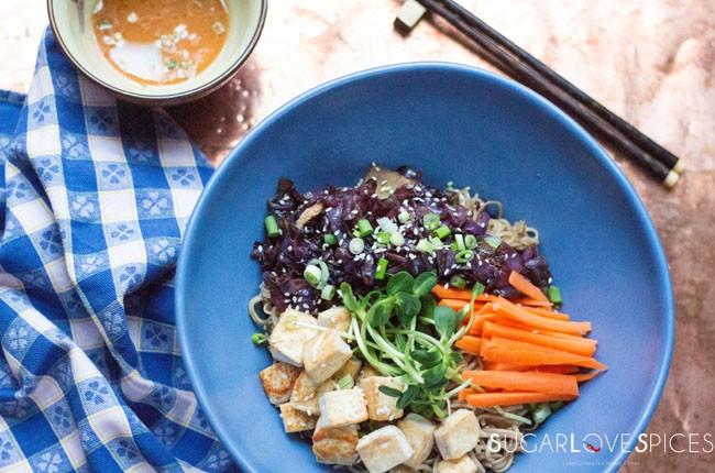 Soba Noodle Maple Tofu Salad Bowl