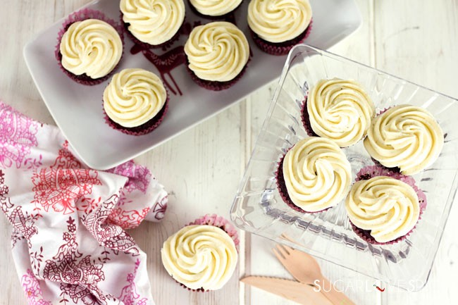 cocoa beet cupcakes with vanilla bean mascarpone frosting