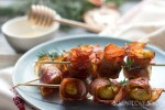 roasted chestnut pancetta skewers