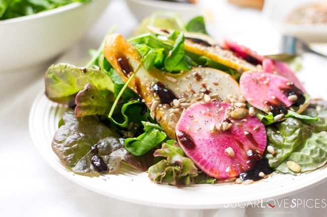 Arugula, Pear and Watermelon Radish Salad