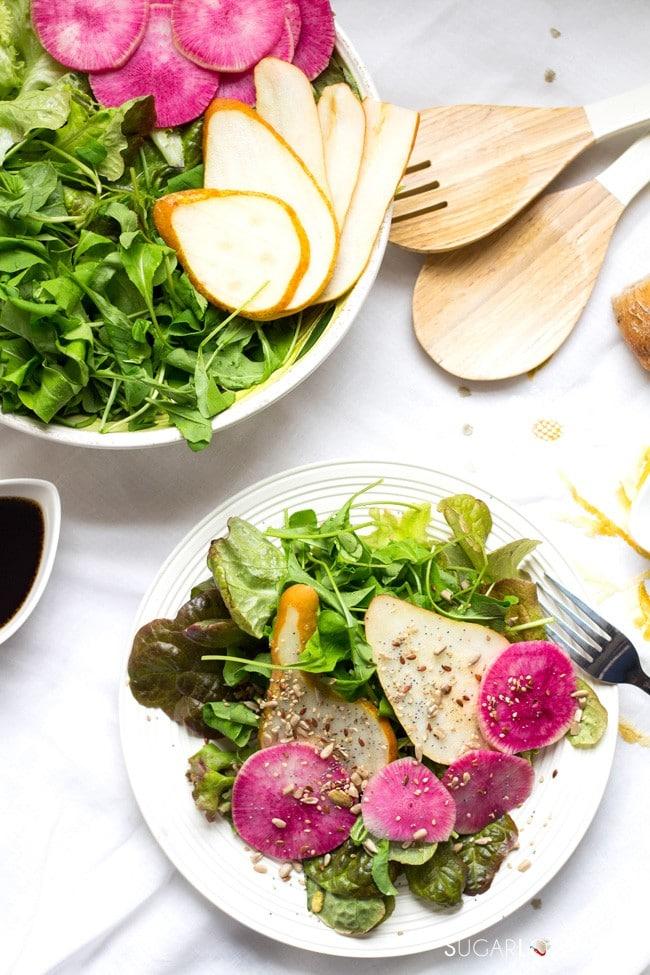 Arugula Pear and Watermelon Radish Salad