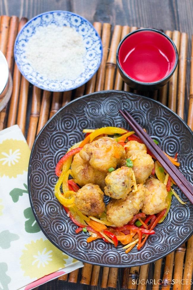 Crispy Halibut Orange Ginger Bites