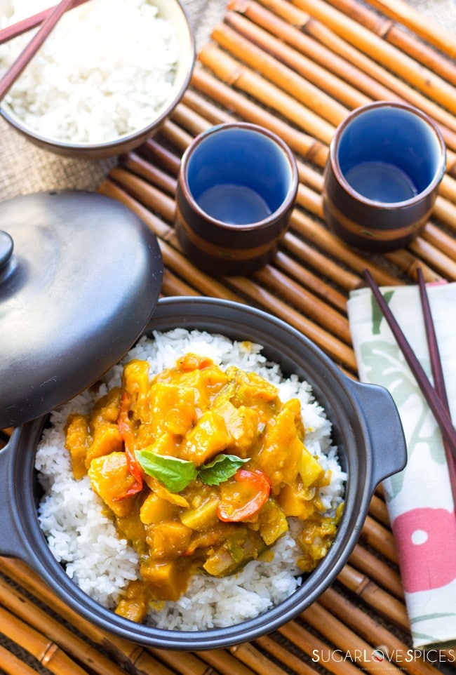 Steamed rice with Red Curry Coconut Squash