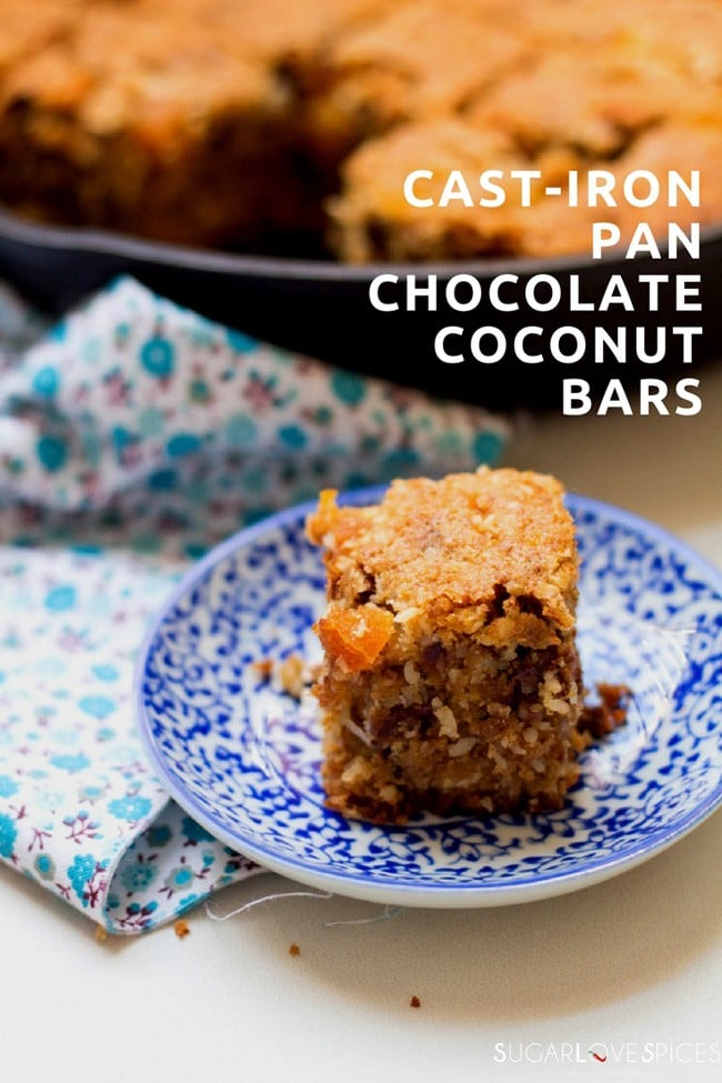 cast-iron pan chocolate coconut bars