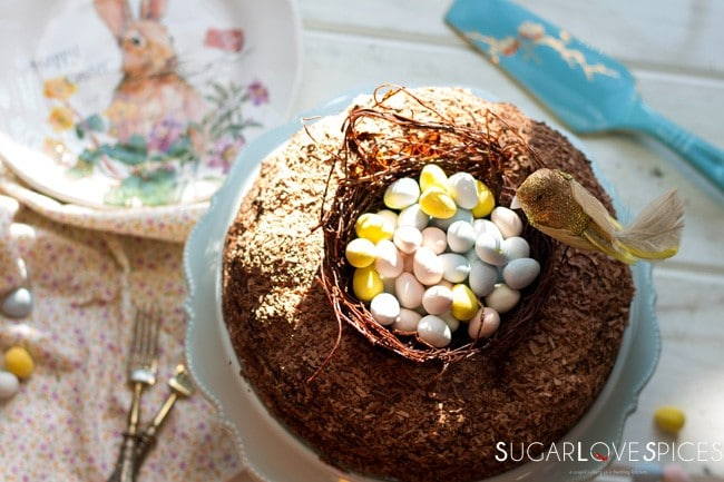 Triple Chocolate Easter Egg Nest Cake [G.F., dairy free]