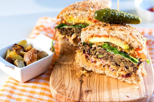Wild Rice, Lentil, Mushroom Veggie Burger - SugarLoveSpices
