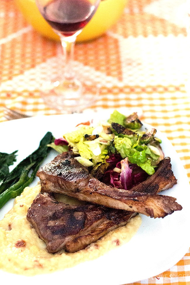 BBQ Lamb Chops on Root Vegetable Puree