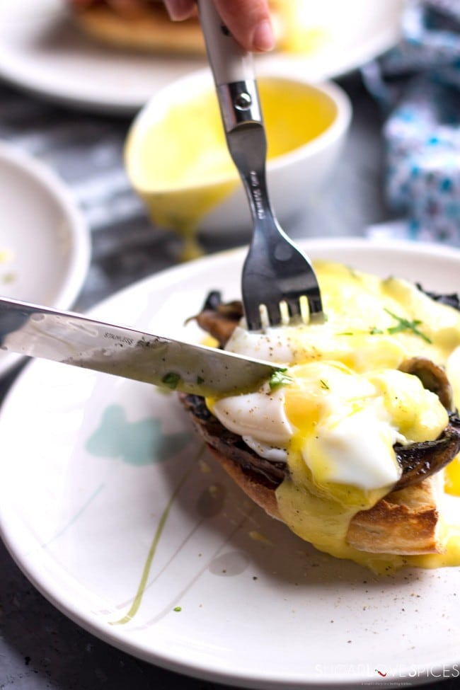 Dill Hollandaise Eggs Benedict, Two Ways