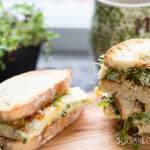 Herb Omelette Breakfast Sandwich with spicy tomato jam