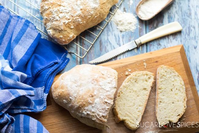 No Knead Rustic Italian Style Bread Sugarlovespices