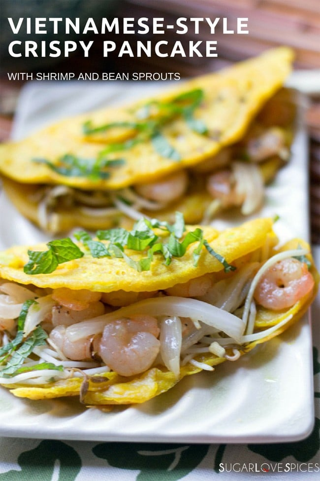 Vietnamese-Style Crispy Pancake with shrimp and bean sprouts