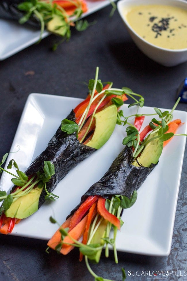 Raw Vegetable Nori Wraps with Orange Ginger Miso Dressing [V., G.F.]