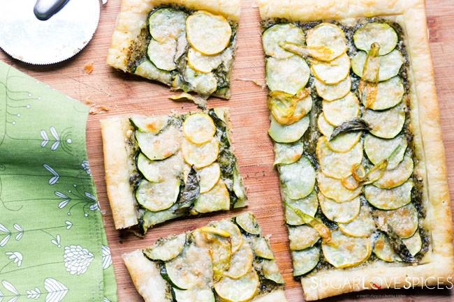 Zucchini Pesto Puff Pastry Tart