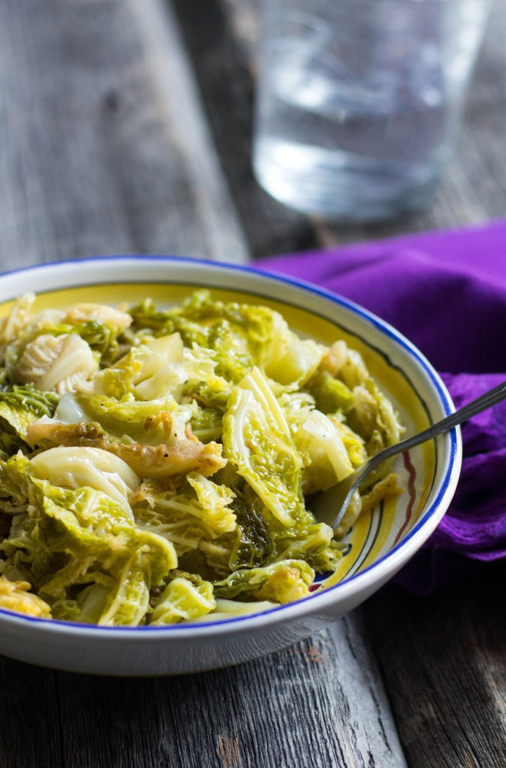 Braised Savoy Cabbage-in a bowl with fork-side view