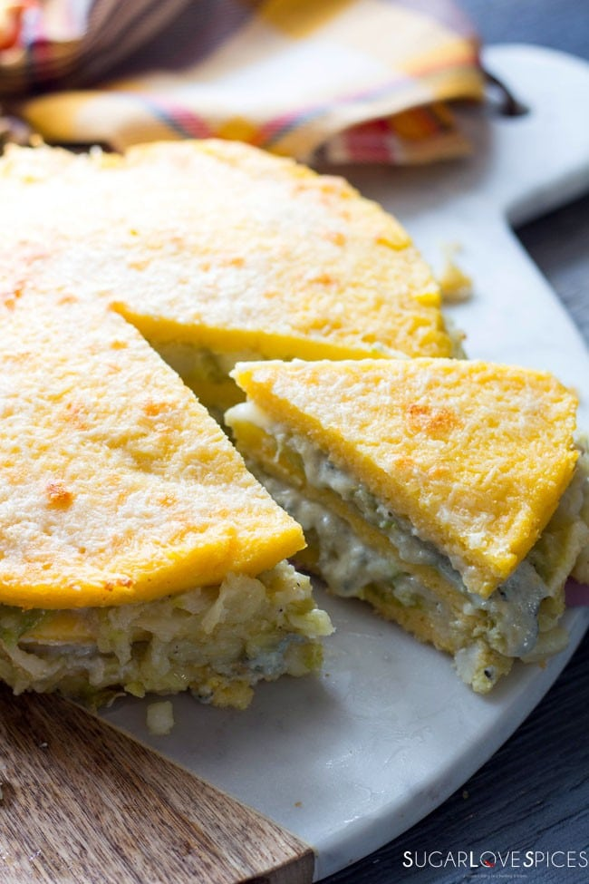 Polenta Torta with Gorgonzola and Savoy Cabbage