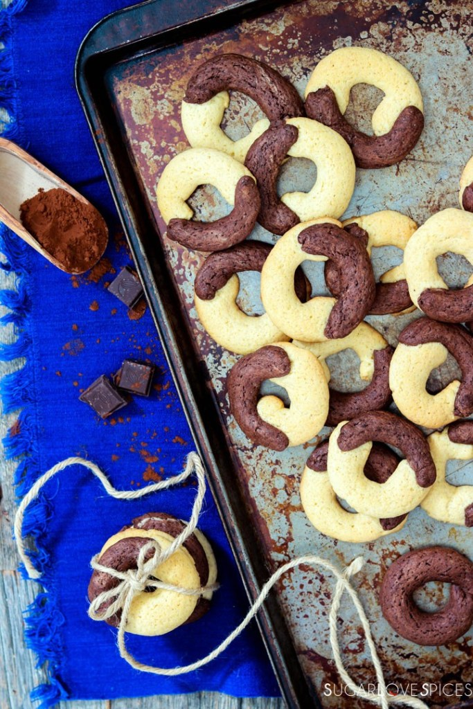 Abbracci cookies on old baking sheet