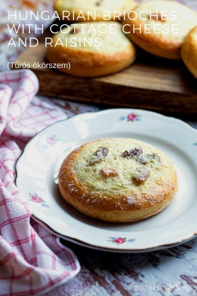 Hungarian Brioches with cottage cheese and raisins