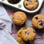 Spelt Flour Muffins with Saskatoon and Blueberries