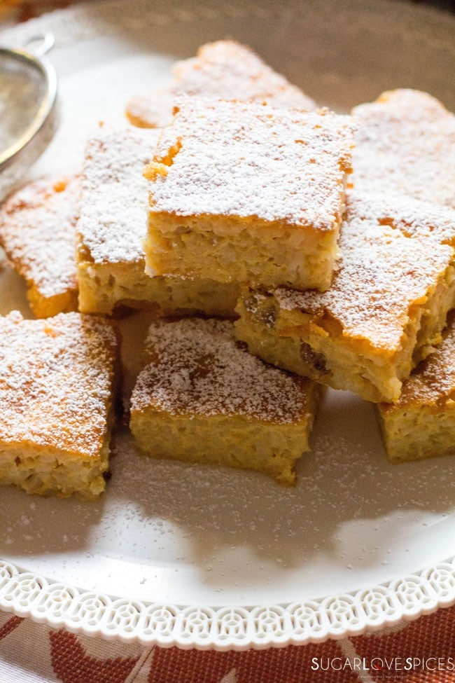 Torta di Riso di Grazianella (Italian Rice Cake)-closeup of the squares