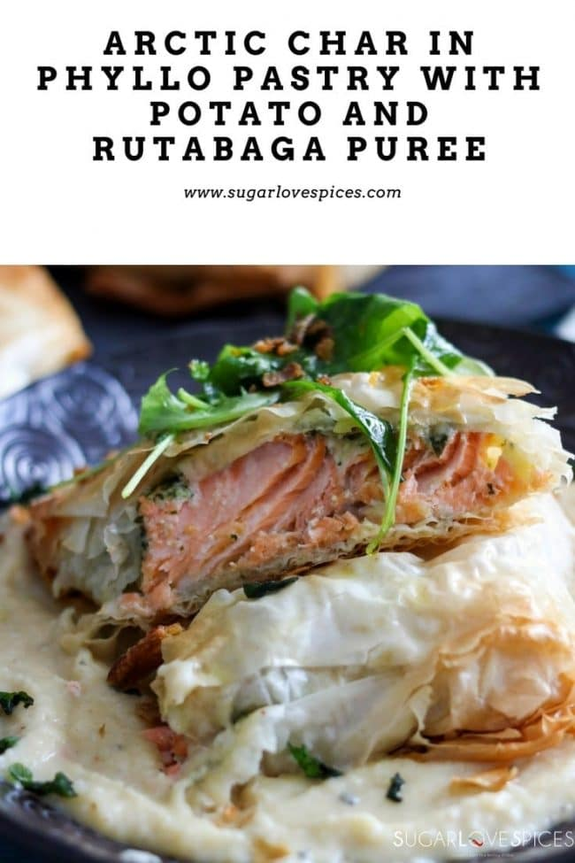 Arctic Char in Phyllo Pastry with a Potato and Rutabaga Puree-pin
