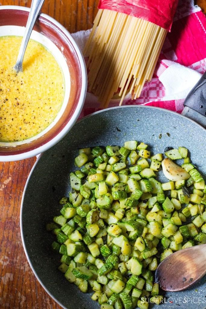Vegetarian Carbonara with Zucchini-more prep