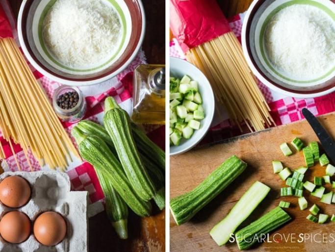 Vegetarian Carbonara with Zucchini-prep