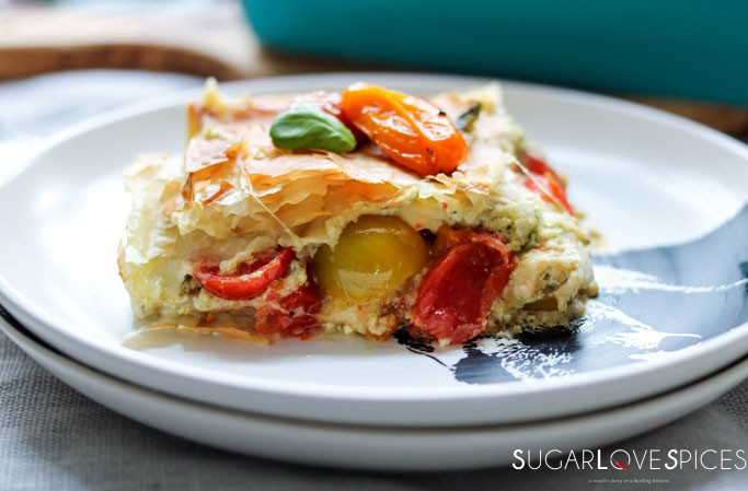 Caprese inspired phyllo pastry bake