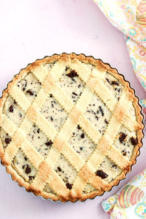 Crostata ricotta e cioccolato-in the pan-baked