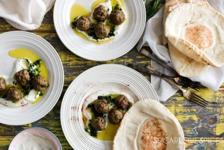 Spiced Meatballs with Greek Yogurt Mint Sauce