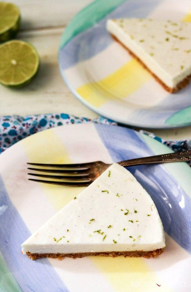 No Bake Lime Cheesecake with Greek Yogurt and Mascarpone-slice