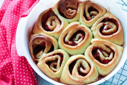 Strawberry Rhubarb Cinnamon Brioche Rolls