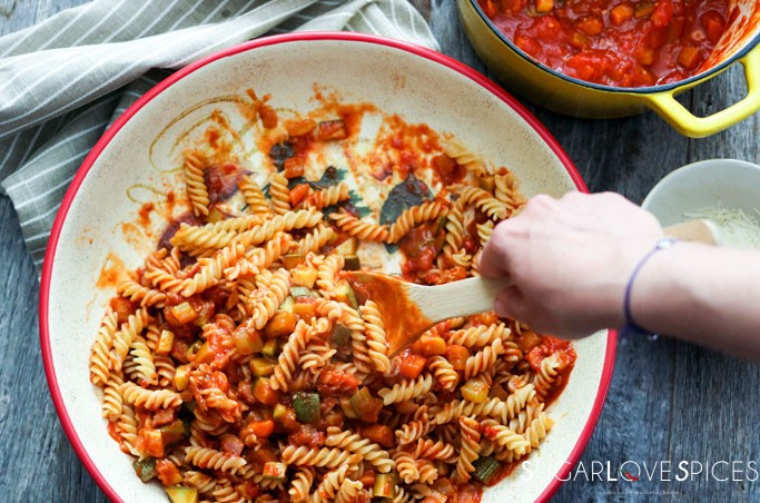 Gluten free Fusilli with Vegetable Ragu