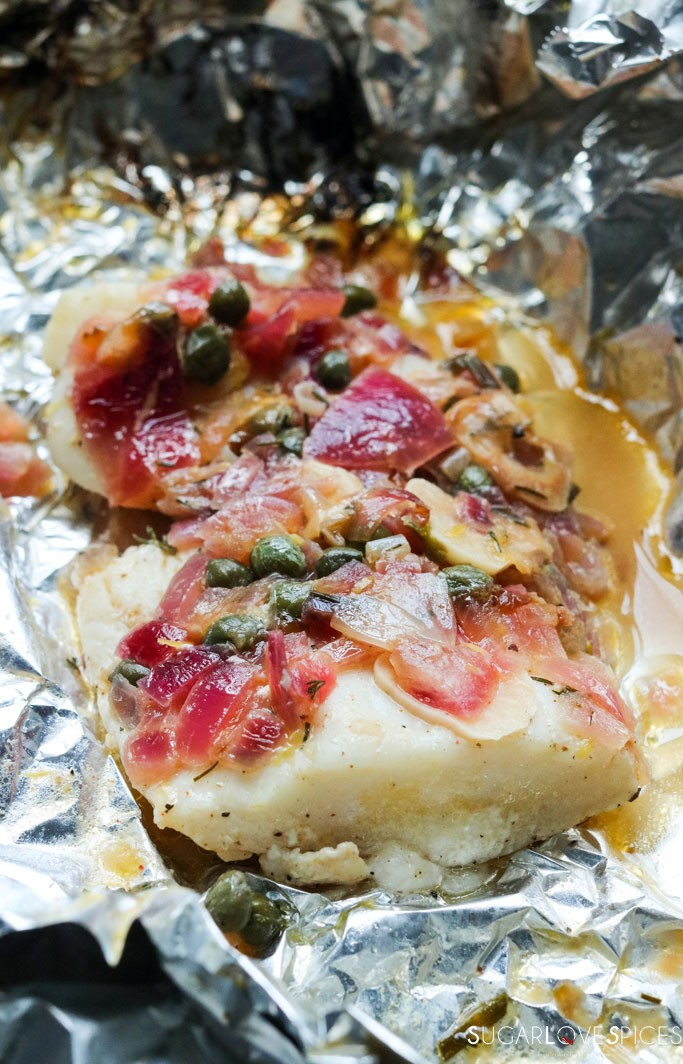 grilled Halibut cheeks pouches