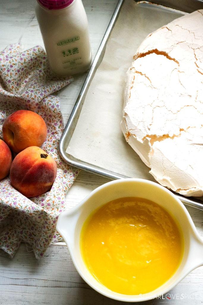 Lemon Curd Pavlova with Peaches & Apricots