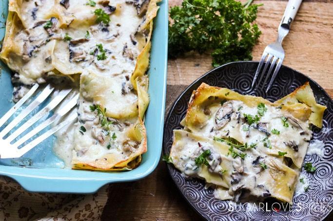 Mushroom Truffle Four Cheese Lasagna