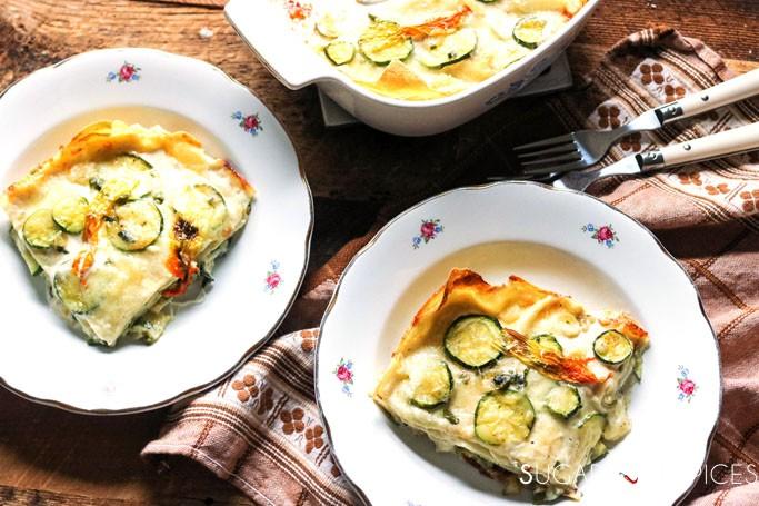 zucchini and zucchini blossom lasagna bianca